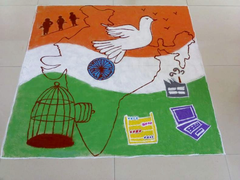 Top Ultimate Patriotic Independence Day Rangoli Designs Images for free download